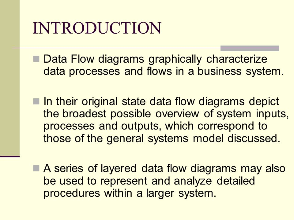 INTRODUCTION Data Flow diagrams graphically characterize data processes and flows in a business system.