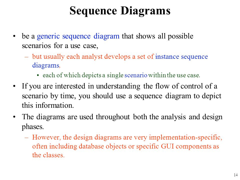 Sequence Diagrams be a generic sequence diagram that shows all possible scenarios for a use case,