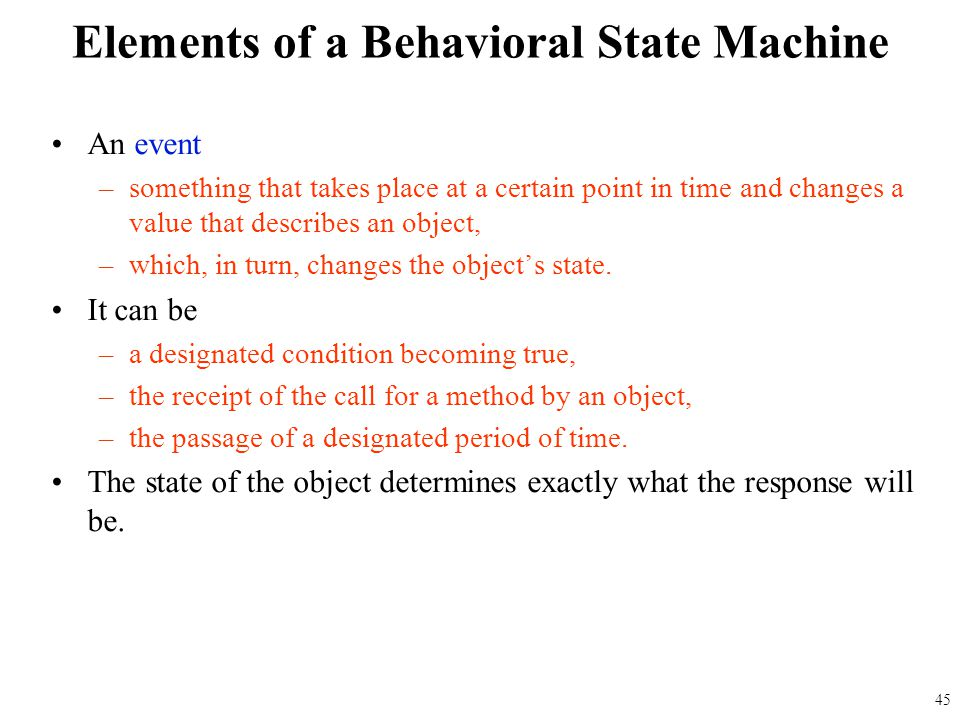 Elements of a Behavioral State Machine