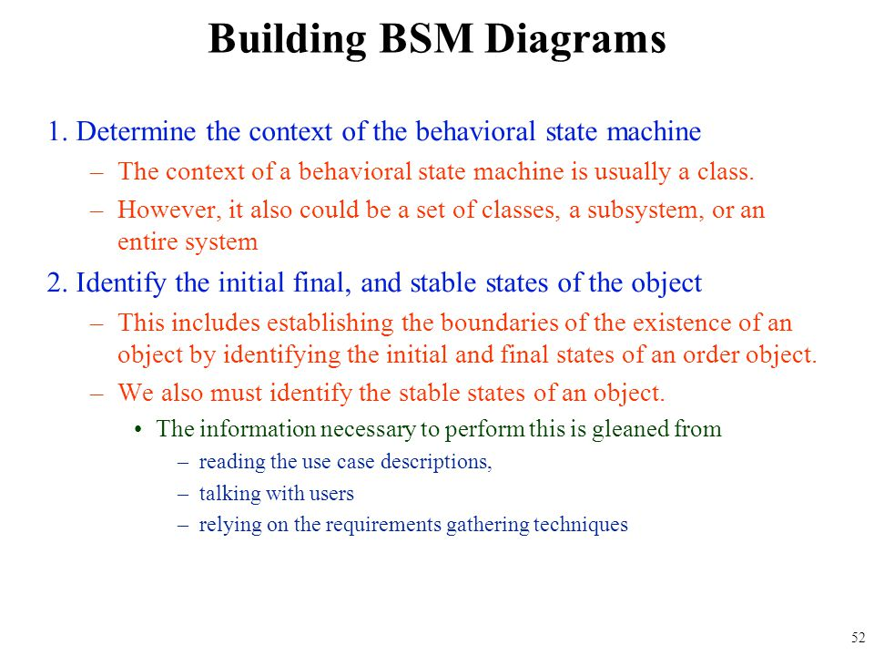 Building BSM Diagrams 1. Determine the context of the behavioral state machine. The context of a behavioral state machine is usually a class.
