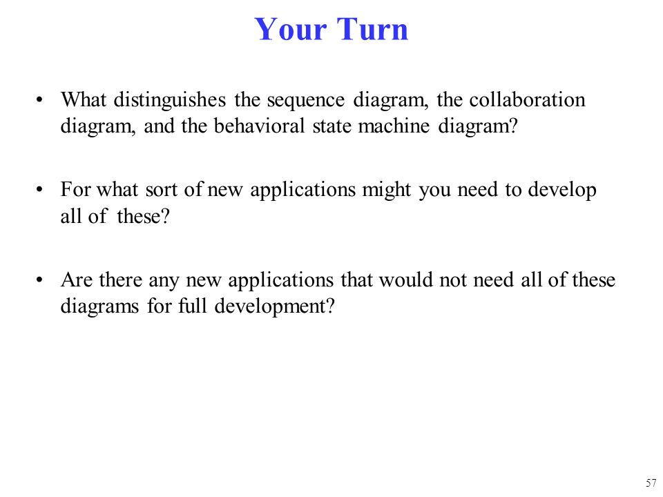 Your Turn What distinguishes the sequence diagram, the collaboration diagram, and the behavioral state machine diagram