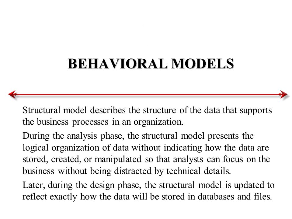 BEHAVIORAL MODELS Structural model describes the structure of the data that supports the business processes in an organization.