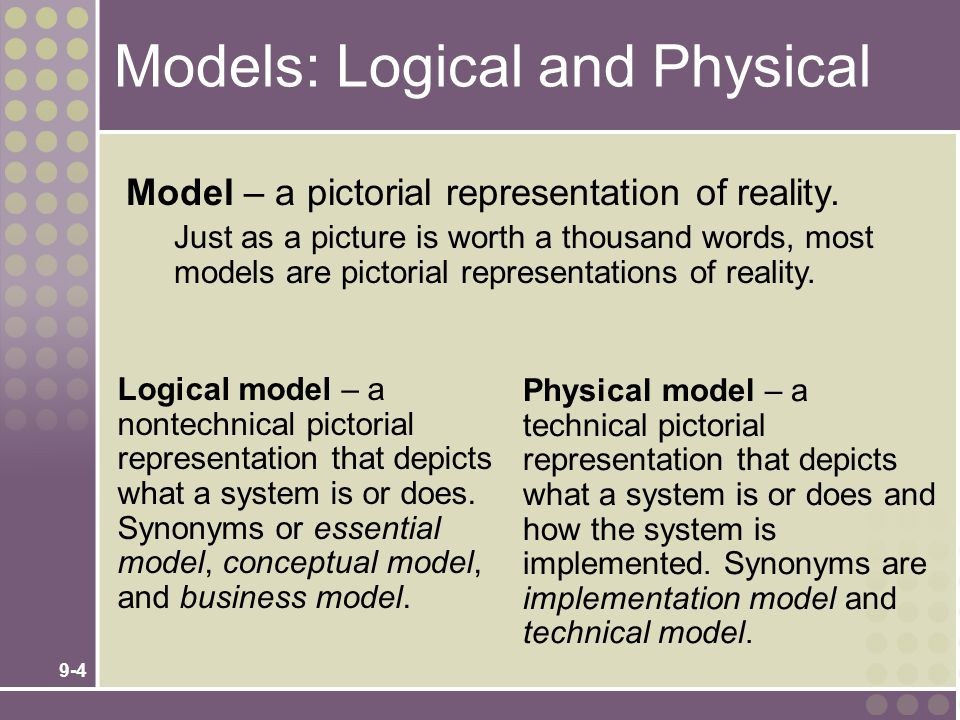 Models: Logical and Physical