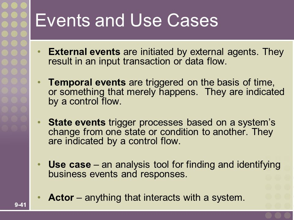 Events and Use Cases External events are initiated by external agents. They result in an input transaction or data flow.