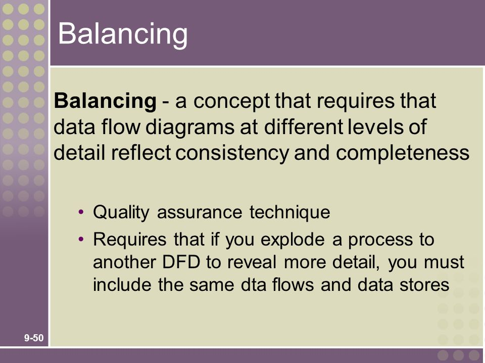 Balancing Balancing - a concept that requires that data flow diagrams at different levels of detail reflect consistency and completeness.