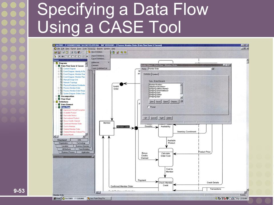 Specifying a Data Flow Using a CASE Tool