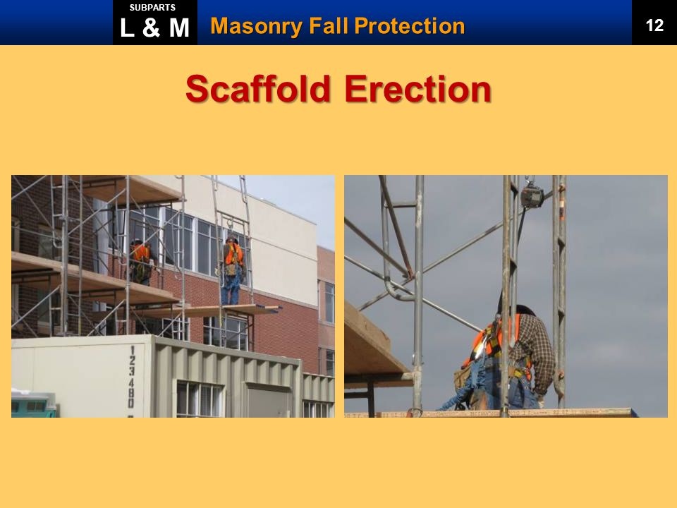 L & M SUBPARTS Masonry Fall Protection 12 Scaffold Erection