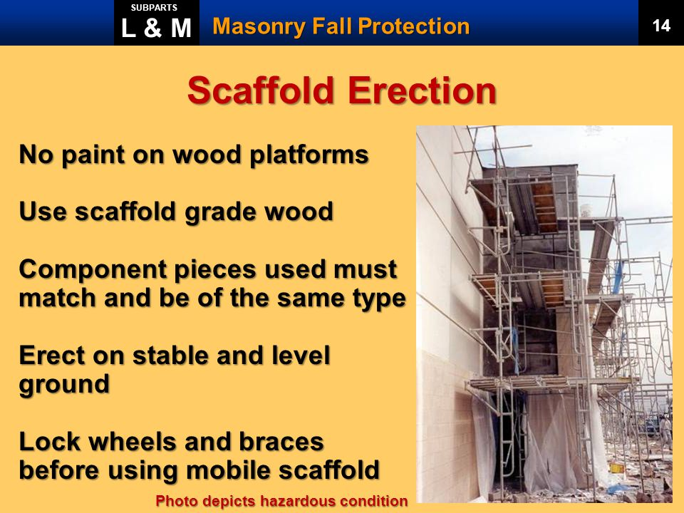 Scaffold Erection L & M No paint on wood platforms