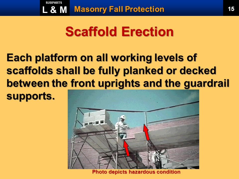 L & M SUBPARTS. Masonry Fall Protection. 15. Scaffold Erection.