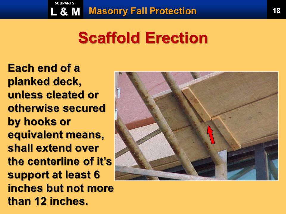 L & M SUBPARTS. Masonry Fall Protection. 18. Scaffold Erection.