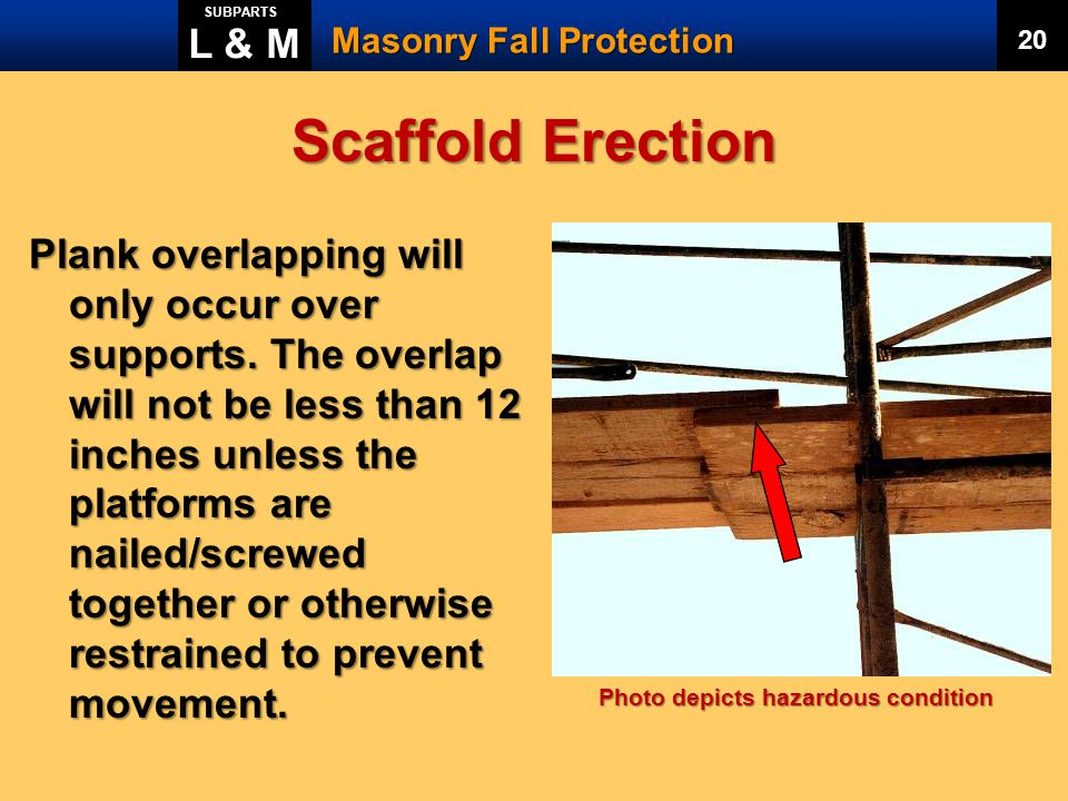 L & M SUBPARTS. Masonry Fall Protection. 20. Scaffold Erection.
