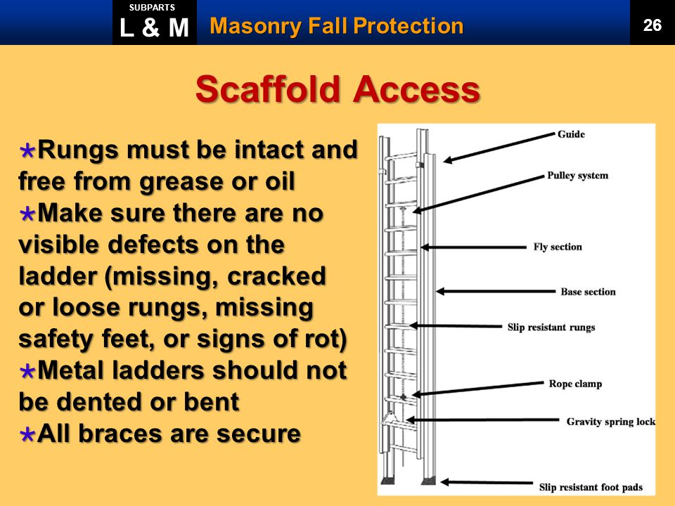 Scaffold Access L & M Rungs must be intact and free from grease or oil