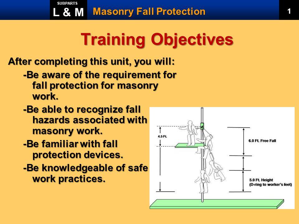 Training Objectives L & M Masonry Fall Protection
