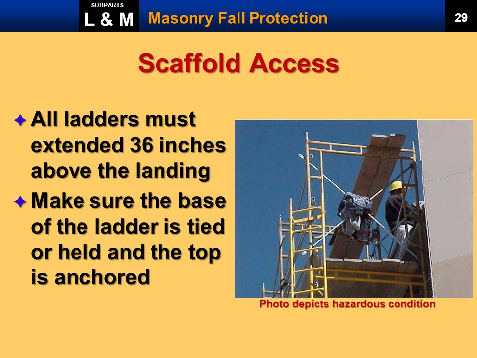 Scaffold Access All ladders must extended 36 inches above the landing