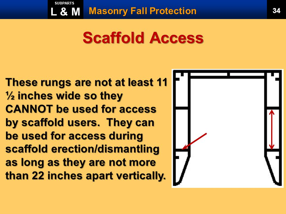 L & M SUBPARTS. Masonry Fall Protection. 34. Scaffold Access.