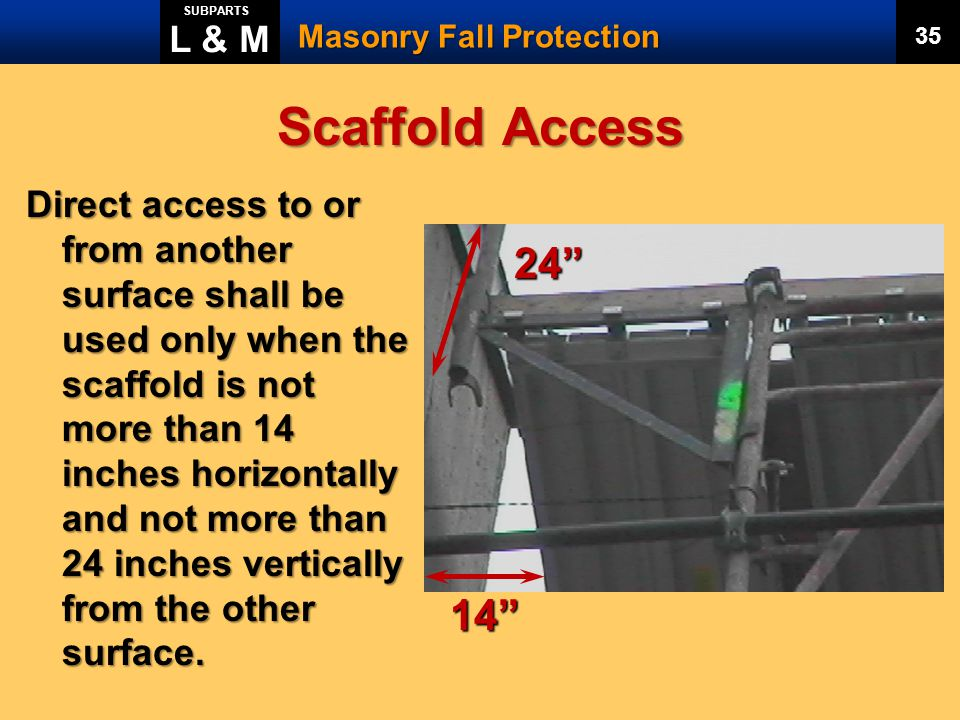 L & M SUBPARTS. Masonry Fall Protection. 35. Scaffold Access.