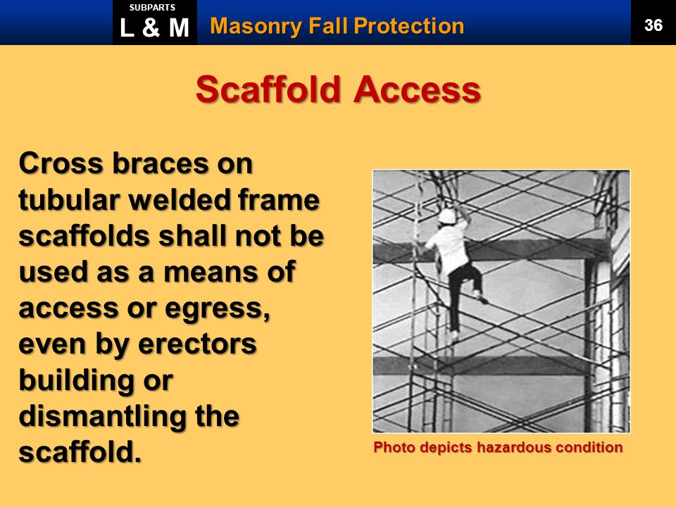 L & M SUBPARTS. Masonry Fall Protection. 36. Scaffold Access.