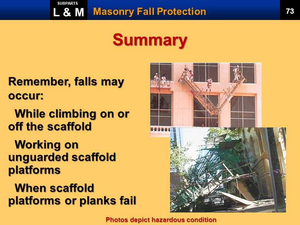 Summary L & M Remember, falls may occur: