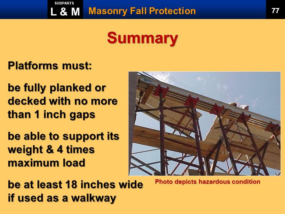 Summary L & M Platforms must: