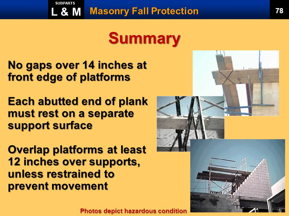Summary L & M No gaps over 14 inches at front edge of platforms