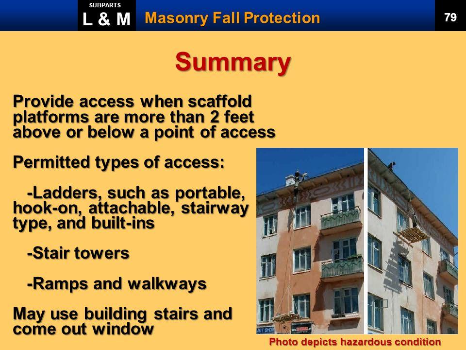 L & M SUBPARTS. Masonry Fall Protection. 79. Summary.