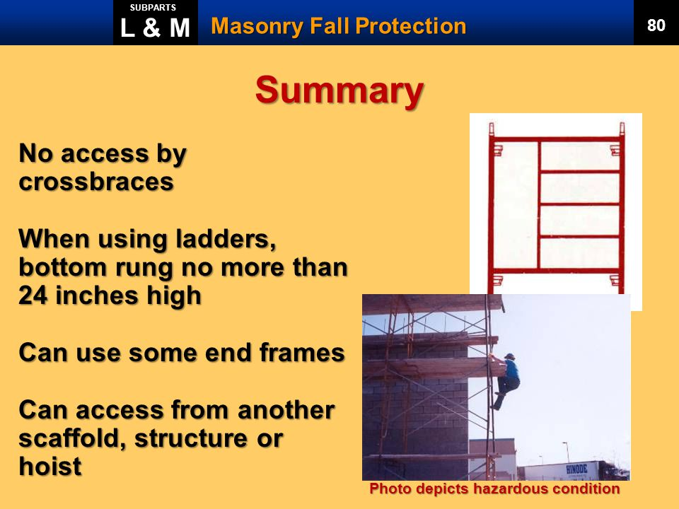 Summary L & M No access by crossbraces