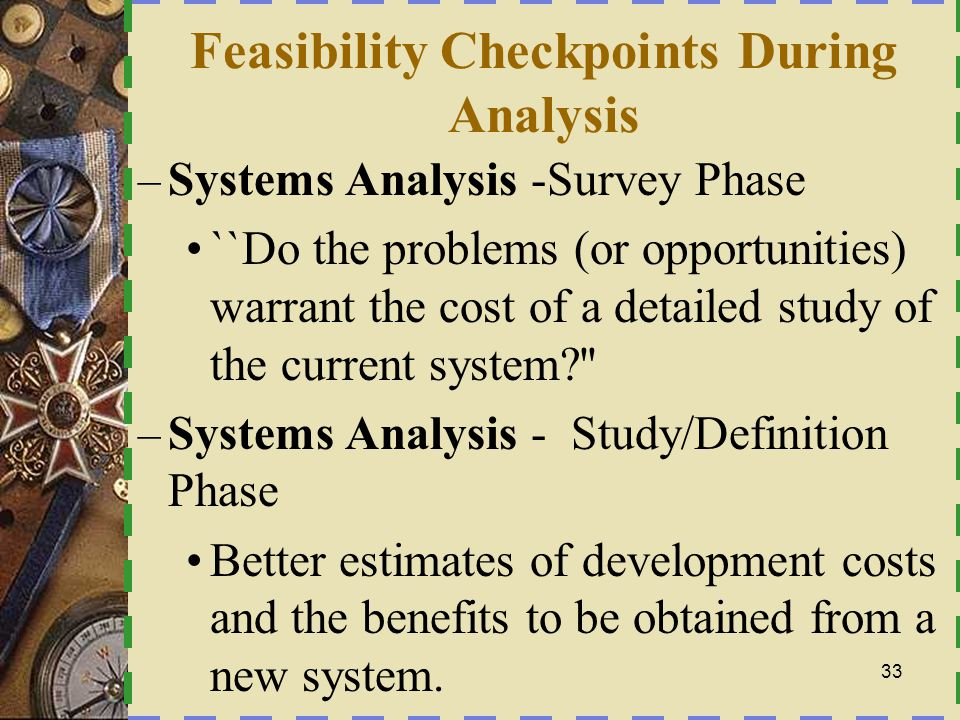Feasibility Checkpoints During Analysis