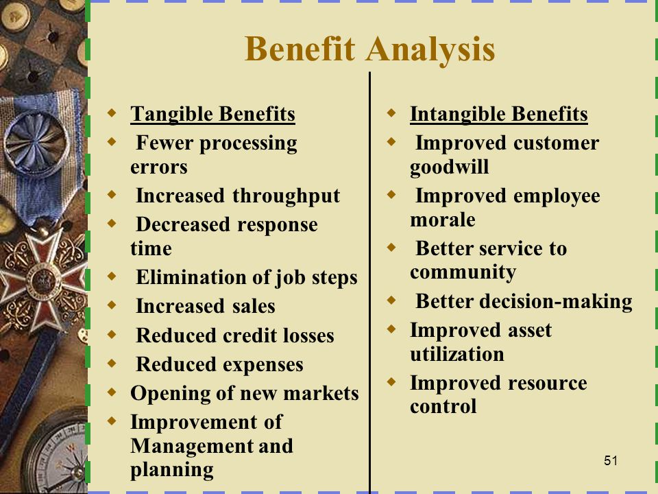 Benefit Analysis Tangible Benefits Fewer processing errors