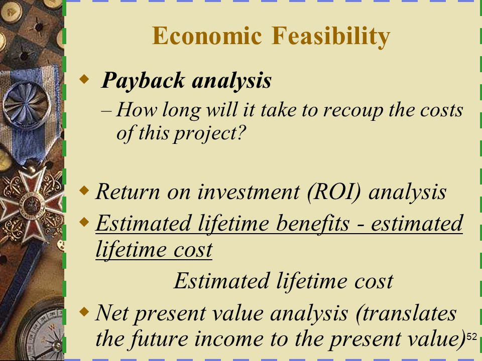 Economic Feasibility Payback analysis
