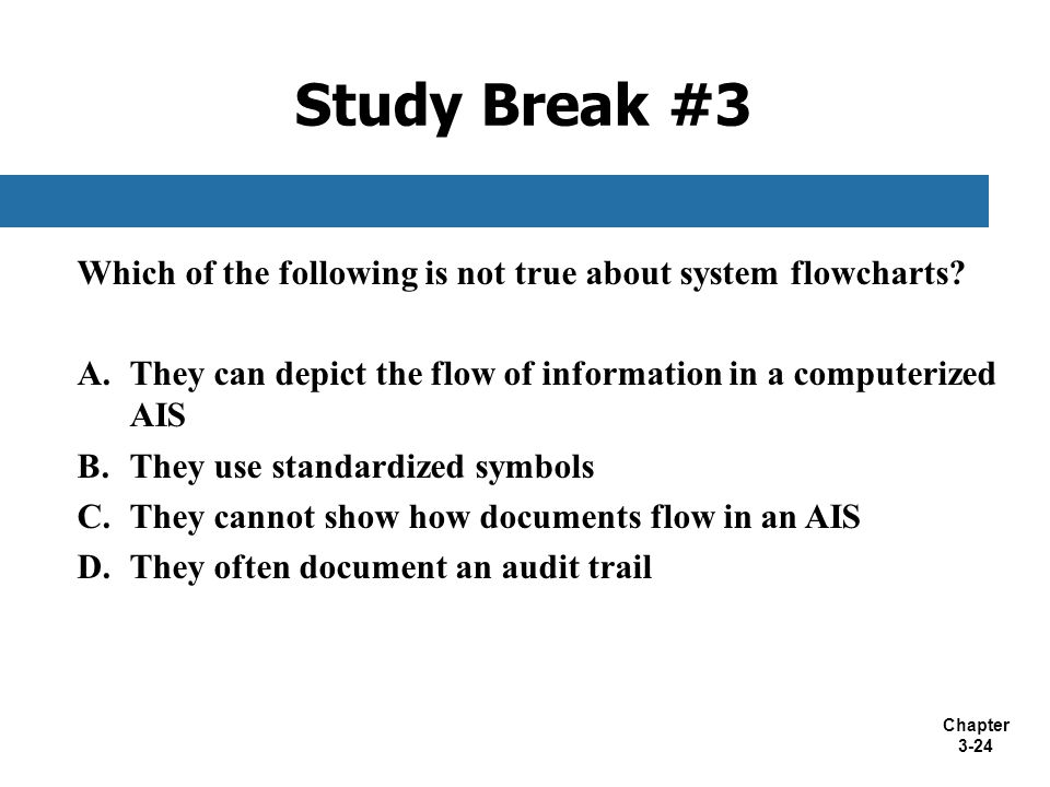 Study Break #3 Which of the following is not true about system flowcharts They can depict the flow of information in a computerized AIS.