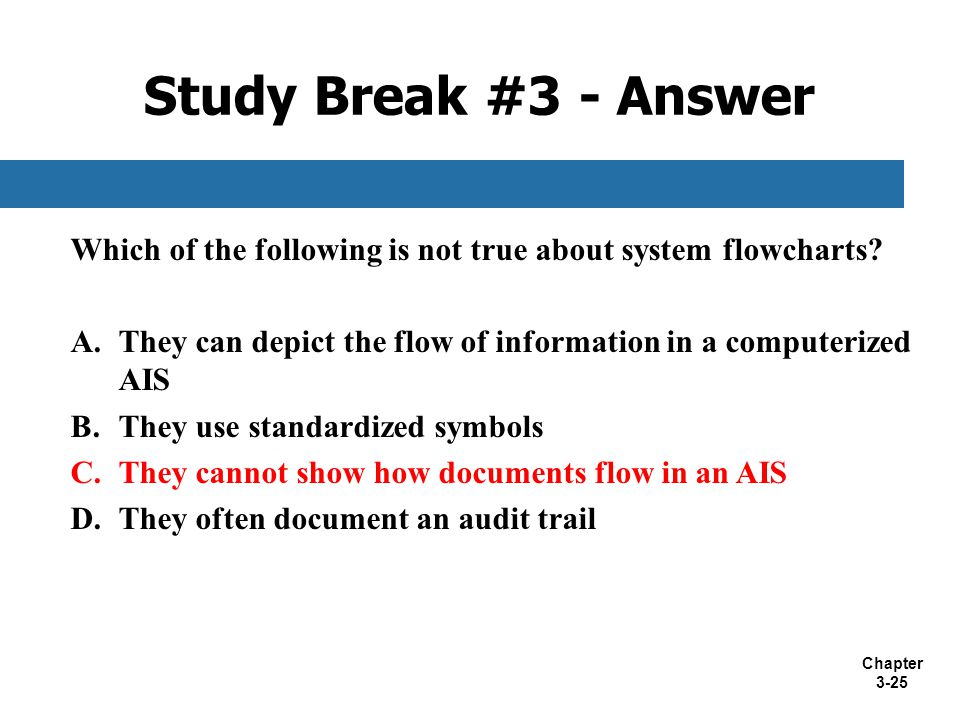 Study Break #3 - Answer Which of the following is not true about system flowcharts They can depict the flow of information in a computerized AIS.