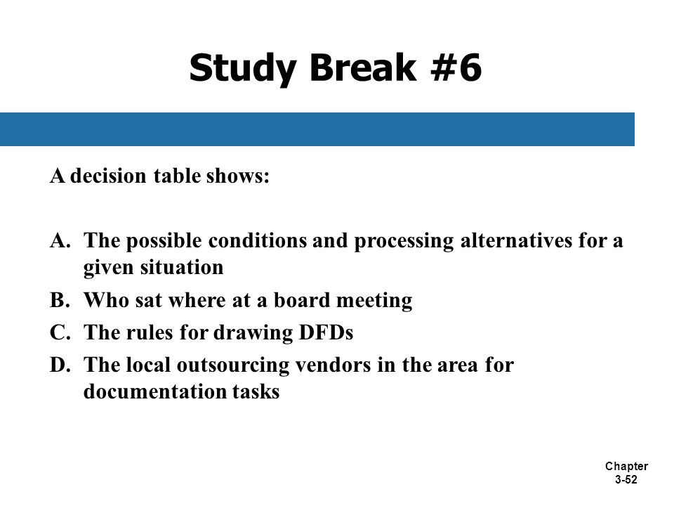 Study Break #6 A decision table shows: