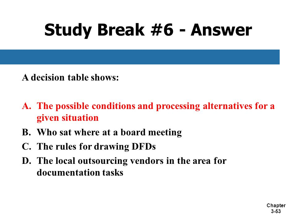 Study Break #6 - Answer A decision table shows: