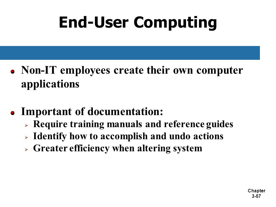 End-User Computing Non-IT employees create their own computer applications. Important of documentation: