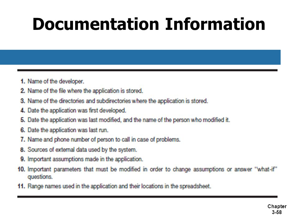 Documentation Information