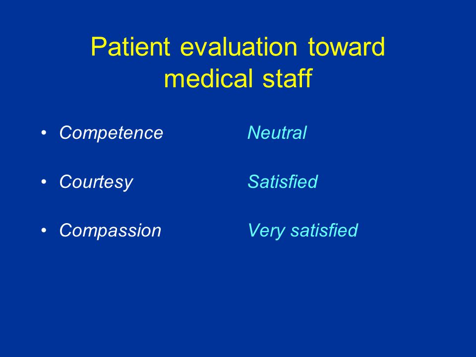 Patient evaluation toward medical staff