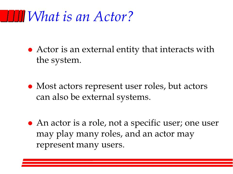 What is an Actor Actor is an external entity that interacts with the system.