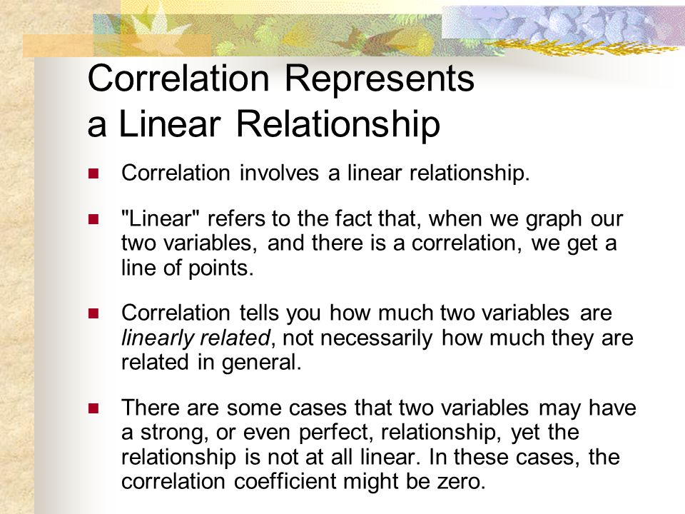 Correlation Represents a Linear Relationship