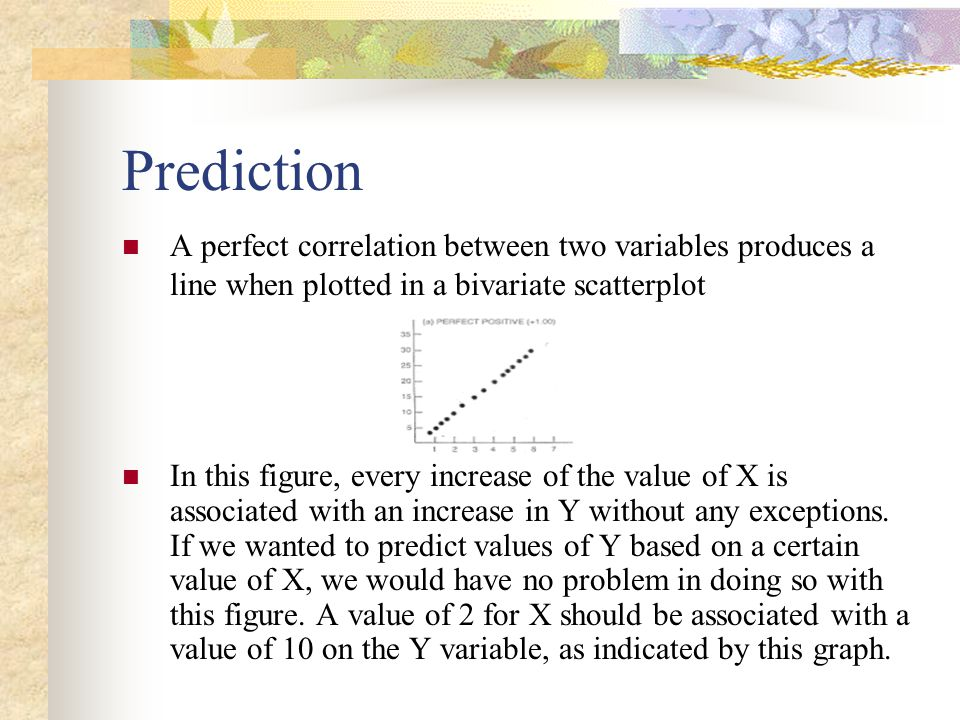 Prediction A perfect correlation between two variables produces a line when plotted in a bivariate scatterplot.