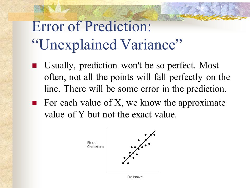Error of Prediction: Unexplained Variance