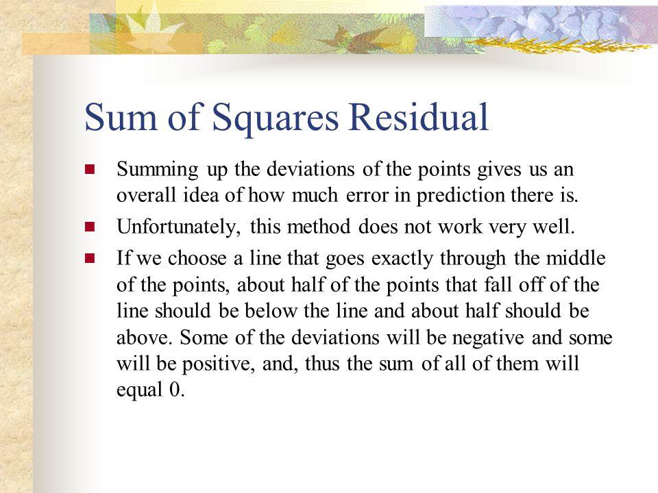 Sum of Squares Residual