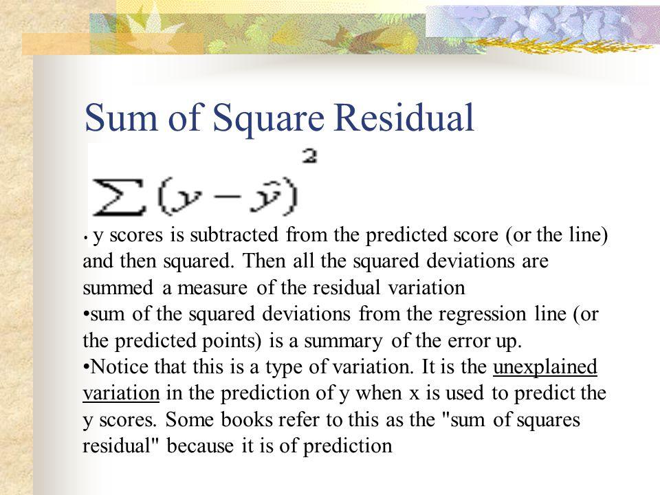 Sum of Square Residual