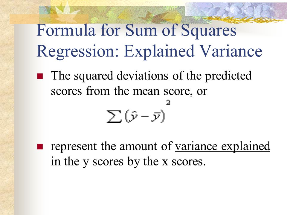 Formula for Sum of Squares Regression: Explained Variance