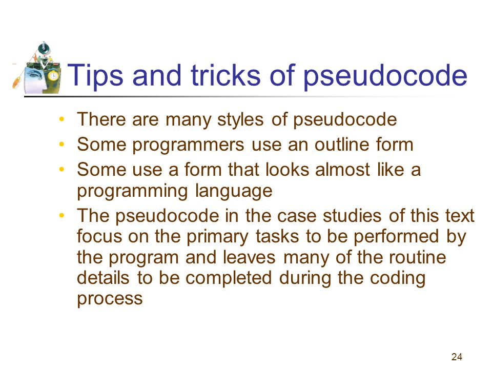 Tips and tricks of pseudocode