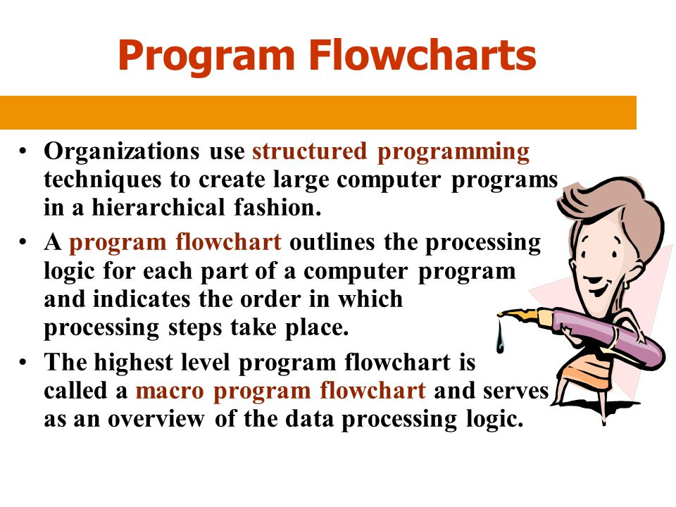 Program Flowcharts Organizations use structured programming techniques to create large computer programs in a hierarchical fashion.