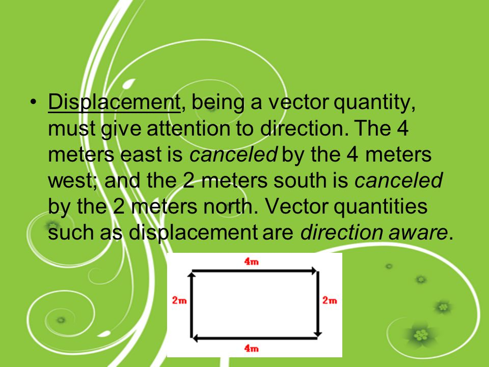 Displacement, being a vector quantity, must give attention to direction.