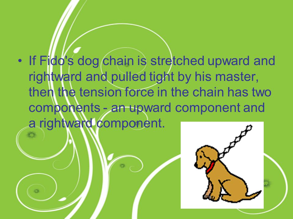 If Fido s dog chain is stretched upward and rightward and pulled tight by his master, then the tension force in the chain has two components - an upward component and a rightward component.