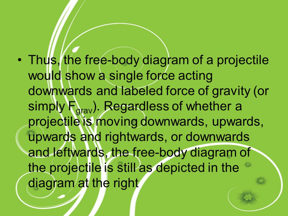 Thus, the free-body diagram of a projectile would show a single force acting downwards and labeled force of gravity (or simply Fgrav).