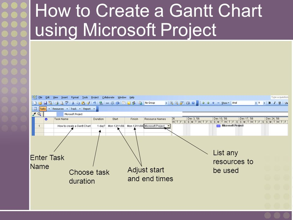 How to Create a Gantt Chart using Microsoft Project