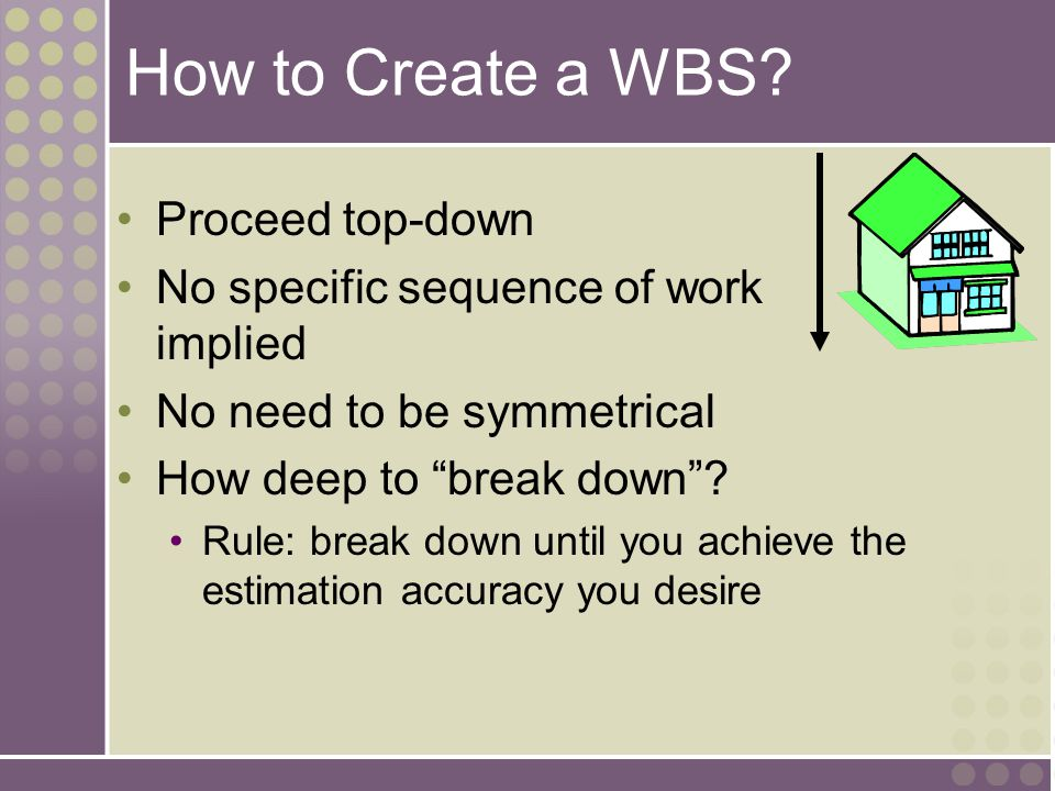 How to Create a WBS Proceed top-down